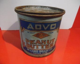 Peanut butter can, vintage peanut butter, peanut butter pail, ADVO peanut butter,