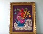 Crewel Handmade Vintage Wall Art, Gold Gilded Frame, Vintage Handmade, Vintage Needlepoint, Floral, Kitsch