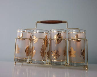 Barware, Mid Century Glass Caddy, Gold with Teak Handle, Mid Century Modern Glasses with Gold Leaves and Footed Drink Carrier, Caddy, Rack
