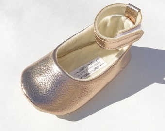 Metallic Rose Gold Toddler Girl Shoes Baby Girl Shoes Metallic Rose Gold Soft Soled Shoes Flower Girl Shoes Party Shoes - Maisie