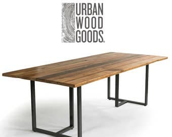 """Industrial Modern Wood Table with reclaimed wood table top, Conference Table, Dining Table with 1.65"""" reclaimed wood top, choice of style."""