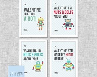 printed ROBOT valentine's day cards . kids Valentines cards . children's classroom valentines . customizable
