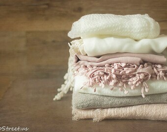 Baby Lace Wraps, Layers and Mohair Wrap Set, Newborn Wraps, Photo Prop Package, Baby Girl Props, newborn Props, RTS, Cream, Mauve Pink Wrap