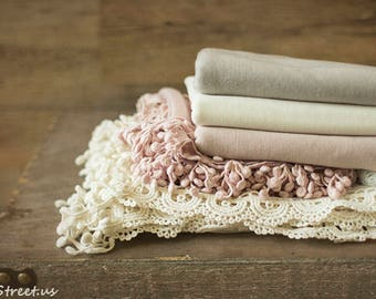 Baby Lace Wraps and Jersey Wraps Set, Newborn Wraps, Baby Girl Photo Prop, newborn Props, RTS, Ivory, Mauve Pink Wrap, Baby Props,  Fringe
