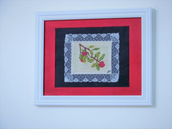 Cross Stitch Cherries & Lace Kitchen Wall Decor - Gift for Mom/Grandma - Handmade Vintage 1970's Embroidery Home Decor - Matted/Framed