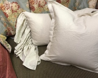 Pair of Tailored Euro Shams and Two King Bed Pillow Shams with Long Side Ruffles-Antique White Washed Linen