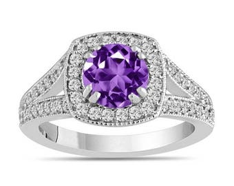 ON SALE Amethyst And Diamonds Engagement Ring 14K White Gold 1.56 Carat Halo Pave Handmade Certified