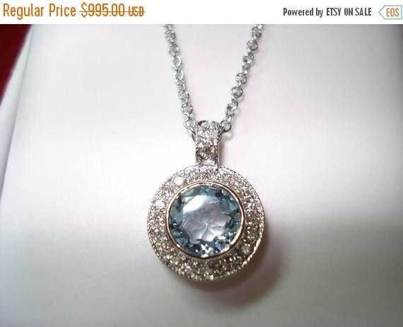 ON SALE Aquamarine & Diamonds Pendant Necklace 14K White Gold 0.95 Carat HandMade