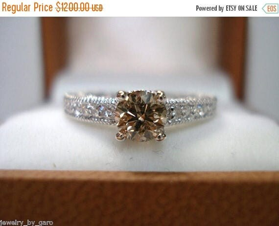 ON SALE 14K White Gold Natural Champagne & White Diamond Engagement Ring 0.64 Carat Vintage Antique Style Engraved handmade