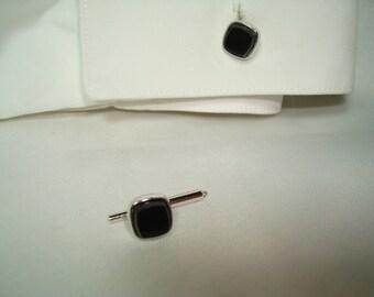 Vintage Spring Loaded Black and Silver Cufflinks.