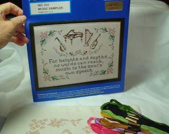 Vintage New 1980s Needles N Hoops MUSIC SAMPLER Cross Stitch Kit.