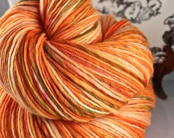 Handspun Yarn Gently Thick and Thin Fingering Single Superwash Merino 'Pumpkin Patch' Hedgehog Fibres