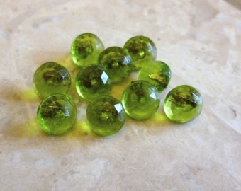 Antique Vintage Czech's Buttons, Lime Green Glass, Diminutive, Tiny, Faceted Glass Buttons,  10 in lot, Metal Loop shank, Circa 1930's