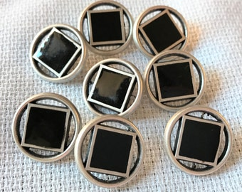 Vintage Silver and Black Buttons, Square, Epoxy Black Center Metal button,  8 in lot, 17mm,  Metal Loop Shank, Squares, Made in Italy