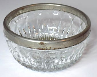 1960s Silver Rimmed Glass Bowl, Heavy Cut Glass with Silver Band, Ornate Design, Small Snack Bowl, Catchall, Serving Dish