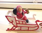 20% OFF SALE Vintage Miniature Santa and Sleigh with 6 Reindeer / Vintage Xmas Figurine / Ho Ho Ho
