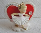 HOLD FOR KIM Vintage Valentine Sweet Heart Ceramic Dancer Planter, Gold Accents, Roses, 1950s