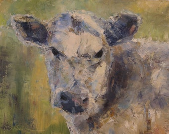 Cow Painting, Bovine Painting, cow portrait, white cow, beef cow, farmhouse decor, cow head, palette knife painting, abstract cow, british