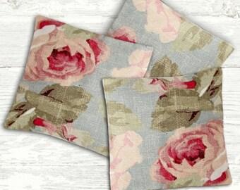 Shabby Cottage Chic Pink Roses Lavender Sachet Set of 3 - Blue Sachets - Lavender Drawer Sachets