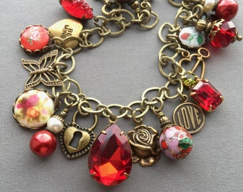 Charm Bracelet - Red Bracelet - Victorian Jewelry - Rhinestone Bracelet - Victorian Bracelet - Red Jewelry - Romantic Jewelry - Gift for Her