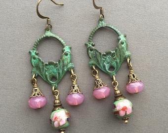 Chandelier Drop Earrings - Bohemian Earrings - Gypsy Earrings - Long Dangle Earrings - Beaded Earrings - Chandelier Earrings - Romantic