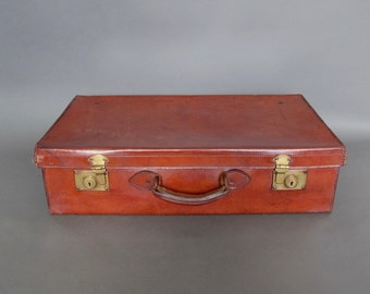 Vintage Leather Suitcase - Circa 1930's - Brown Leather Suitcase from England