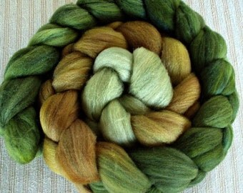 "Hand Dyed BFL/Silk Top 4 Oz.""Moss Gradient"""""