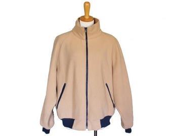 50% off sale // Vintage 80s Tan LL BEAN Fleece Jacket - Men XL