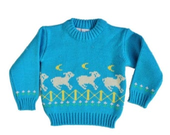 60% off sale // Vintage 80s Counting Sheep Sweater - 12 Months Boy Girl, Childrens - Brookstone
