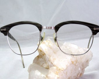 Vintage EyeGlasses Mens Browline Shuron Frames. Gray wood with coil Temples