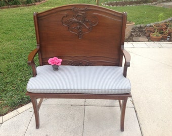 SOLID WOOD SETTEE / Gorgeous Solid Wood Bench / Settee / Solid Wood Carved Oversized Chair Loveseat / Shabby Chic Style at Retro Daisy Girl