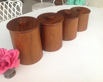 MID CENTURY CANISTERS / Teak Retro Canisters / Gladmark Canisters / Mid Century Modern Kitchen at Retro Daisy Girl