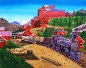 Kennicott Mill Painting, Scott Clendaniel, Alaska Train Painting, Copper River Northwestern Railroad, McCarthy, Edge of Alaska, Mining Print