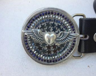 Mosaic Belt Buckle, Heart bucke, Round Buckle, Women's Buckle,Belts for Women, Small Buckle, Biker Buckle, Beaded Buckle, Leather Belt,