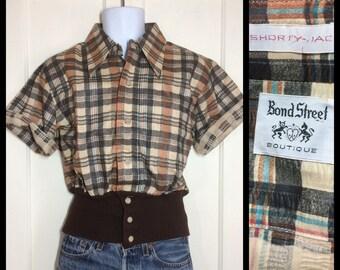 1970's Deadstock seersucker plaid gaucho Shirt jac size Large NOS rib knit bottom cuff brown black tan rust disco funk Bond Street Boutique