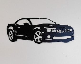 2009 - 2015 - Chevrolet Camaro- 5th Generation-Metal Sign- Metal Wall Art - Garage Sign - Satin Black - Man Cave