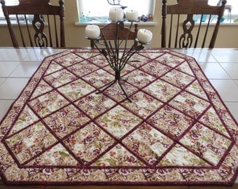 Traditional Lap Quilt Floral Ninepatch primrose cream rose wine
