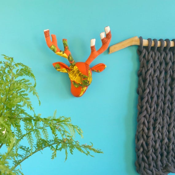 Fabric Deer head. Retro orange floral fabric. Faux taxidermy. Stag trophy head. Vintage tablecloth. Upcycled decor. Recycled fabric.