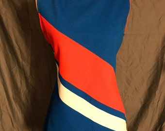 Vintage 70s red white blue tunic top