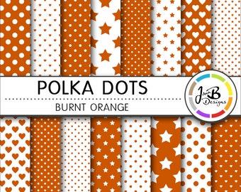 Polka Dots Digital Paper, Burnt Orange, Orange, Dots, Hearts, Stars, Digital Paper, Digital Download, Scrapbook Paper, Digital Paper Pack