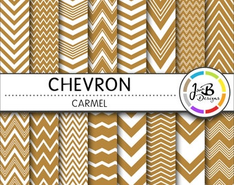 Chevron Digital Paper, Carmel, Brown, White, Chevron, Zig Zag, Digital Paper, Digital Download, Scrapbook Paper, Digital Paper Pack
