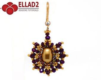 Tutorial Adria Earrings-Beading tutorial, Beading Pattern, Earrings tutorial, Ellad2