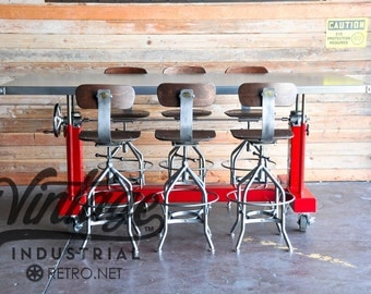 Vintage Industrial Glossy Crank Bar Table