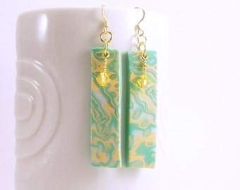 Mint Yellow Pearl Dangle Earrings, Polymer Clay Jewelry