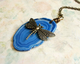 Dragonfly Necklace,Geode Jewelry,Dragonfly Pendant,Agate Necklace