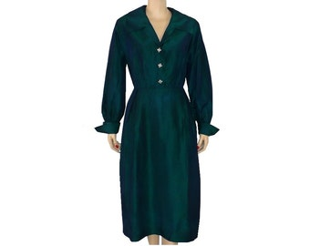 L/12/Tall Vintage 1950's Changeable Taffeta Dress, Shirtwaist Cocktail Dress, Green Dress, Large