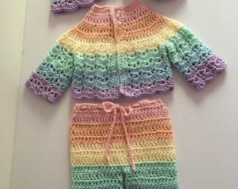 Crochet Baby Rainbow Sweater set, Newborn