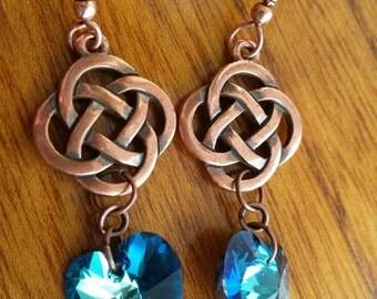Swarovski Crystal Copper Celtic Knot Earrings