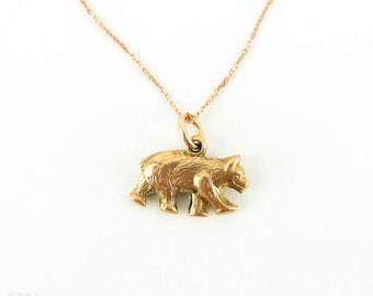 Antique 9ct Edwardian Bear Charm, Small Bear Pendant on Modern 9k Rose Gold Chain.