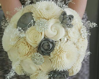 Ivory sola flower bouquet, natural bouquet,  brooch bouquet,  wooden flower, bride bouquet,  custom bouquet,  bling bouquet,  wedding decor